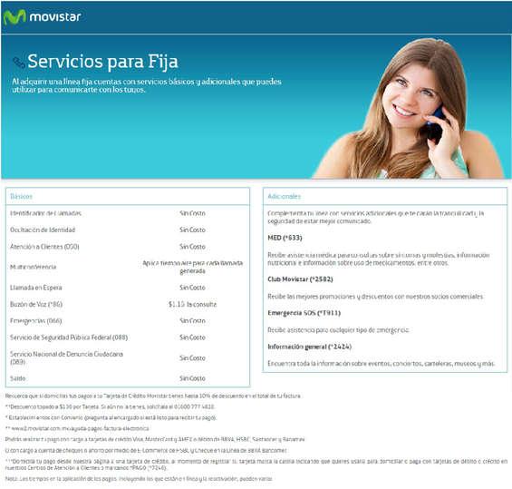 Ofertas de Movistar, Servicios - Linea Fija