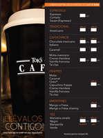 Ofertas de Toks Restaurante, Menú Café