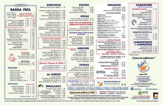 Ofertas de Fisher's, Manteleta Menú Acapulco