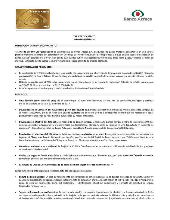 Ofertas de Banco Azteca, Tarjeta de crédito Oro Garantizada