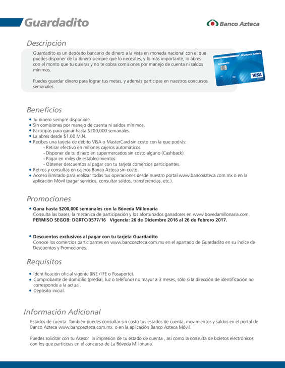 Ofertas de Banco Azteca, Guardadito