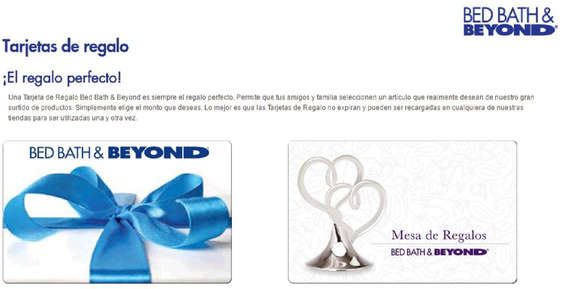 Ofertas de Bed Bath & Beyond, Tarjetas de regalo