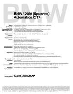 Ofertas de BMW, Ficha Técnica BMW 120iA (5 puertas) Automático 2017