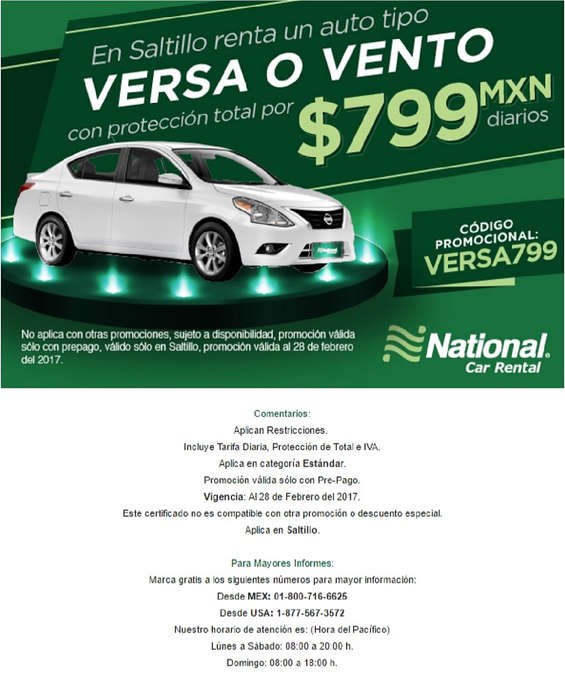 Ofertas de National Car Rental, Versa o Vento