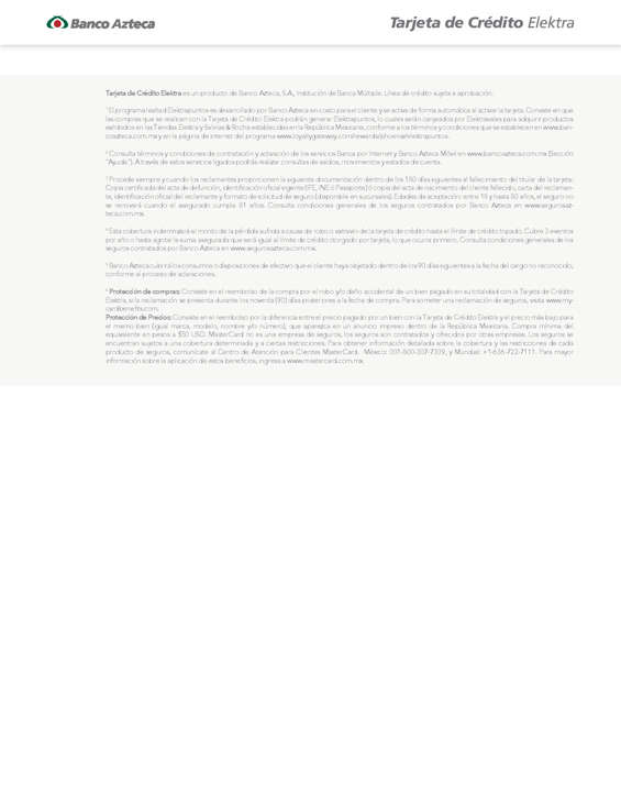 Ofertas de Banco Azteca, Tarjeta de Crédito Elektra