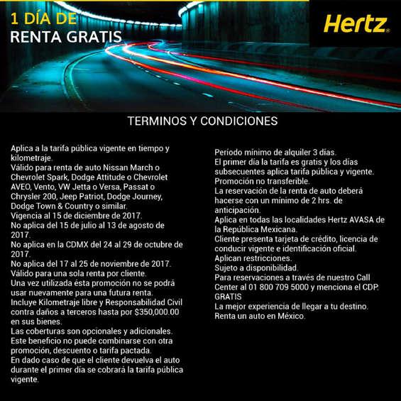 Ofertas de Hertz, 1 día de renta gratis