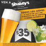 Ofertas de Shakey's Pizza, Cerveza o bebida favorita