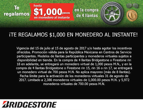 Ofertas de Bridgestone, Te regalamos mil pesos