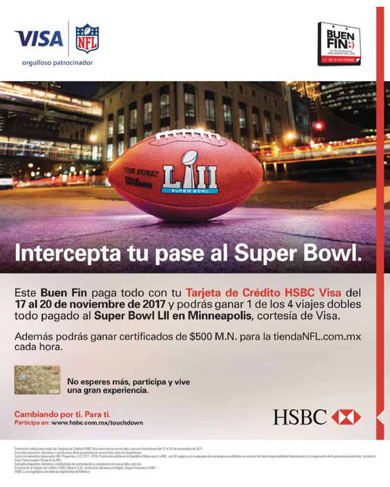 Ofertas de HSBC, Intercepta tu pase al Super Bowl
