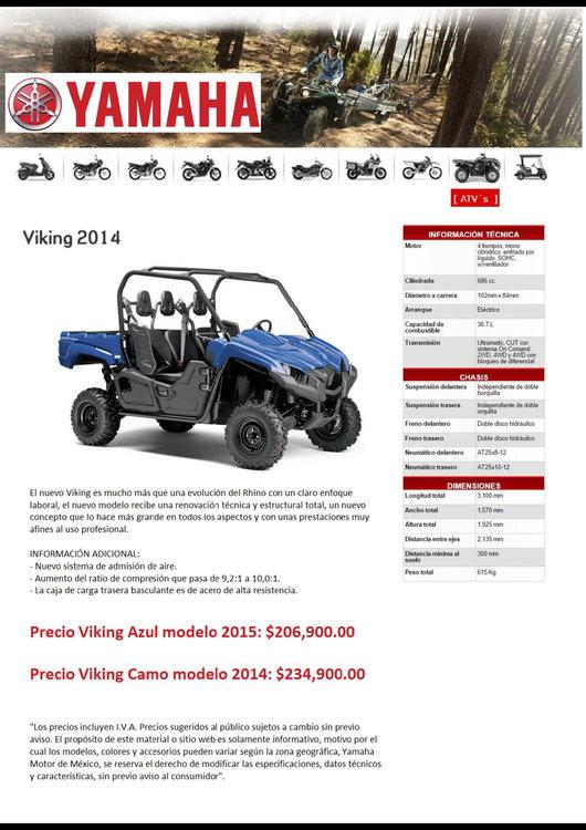 Ofertas de Yamaha, Gama ATV's / ROV