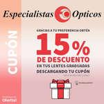 Ofertas de Especialistas Ópticos, 15% de descuento en lentes graduadas