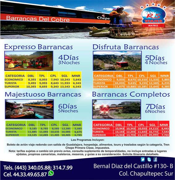Ofertas de RS Viajes, Barrancas del cobre