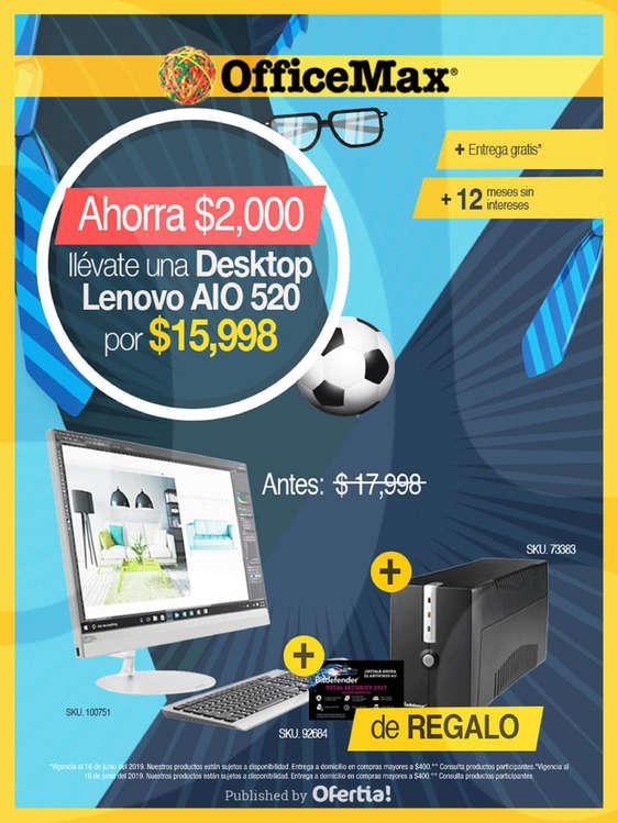 Ofertas de Office Max, Llévate una Deskop Lenovo
