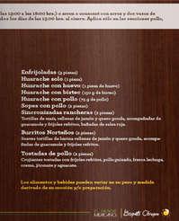 Menú Los Bisquets de Obregón