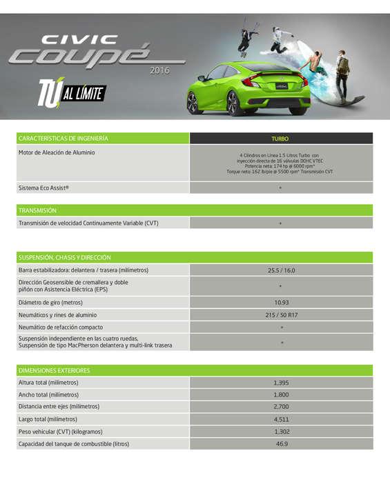 Ofertas de Honda, Ficha técnica Civic Coupe