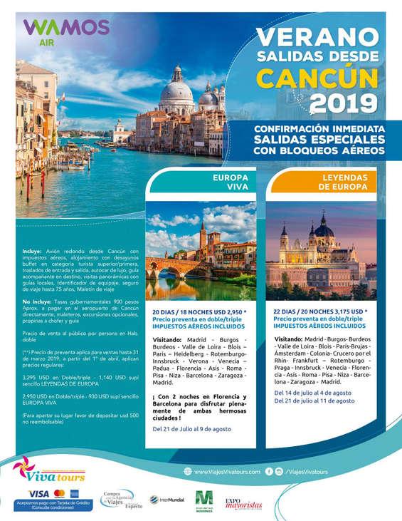 Ofertas de Viva Tours, Verano Cancún 2019